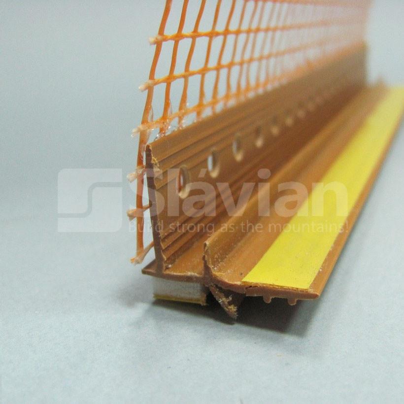 Профиль ПВХ приоконный, 6мм с сеткой 2,5м светлокоричневый (золотой дуб)