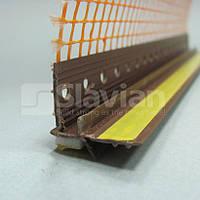 Профиль ПВХ приоконный, 6мм с сеткой 2,5м (коричневый)
