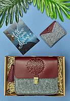 Подарунковий набір з фетру, шкіри жіночий (сумка, гаманець, брелок, листівка) ручна робота