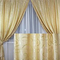 """Комплект готовых штор """"Ева"""" , цвет золотистый 188ш"""