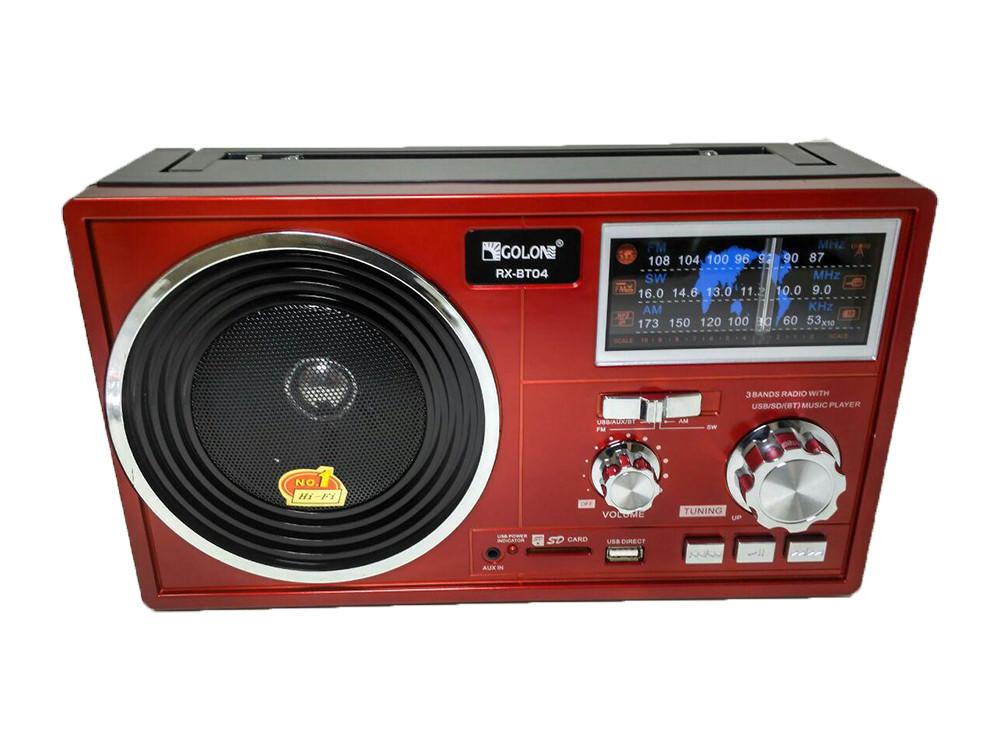 Портативная колонка радио MP3 USB Golon RX-BT04 c Bluetooth Red