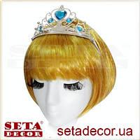 Корона диадема Эльза с голубыми камнями серебристая