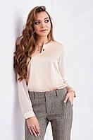 Элегантная женская блуза из шёлка цвета пудру S, M, L, XL