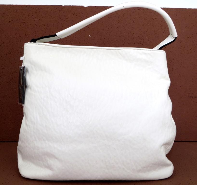 Вместительная женская сумка - мешок. Эко-кожа. Белый