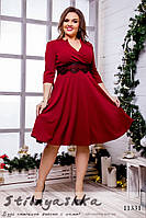 Ретро платье декольте для полных бордо, фото 1