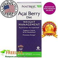 Natrol, Диетическая добавка Acai Berry, асаи и зеленый чай, 60 вегатарианских капсул, купить, цена, от