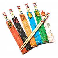 Палочки для еды бамбуковые с рисунком в футляре набор 6 пар