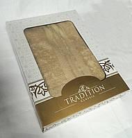 Махровое однотонное полотенце для сауны БЕЖ в подарочной упаковке