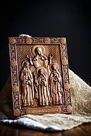 Резная Икона из дерева - Святые Вера, Надежда, Любовь и мать их София