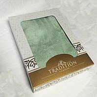 Махровое однотонное полотенце для сауны ЗЕЛЕНОЕ в подарочной упаковке