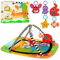 Коврик для младенца 63529  81-64см+коври-мозаика,дуги2шт,подвески5шт(животн),в кор,64-48,5-14см