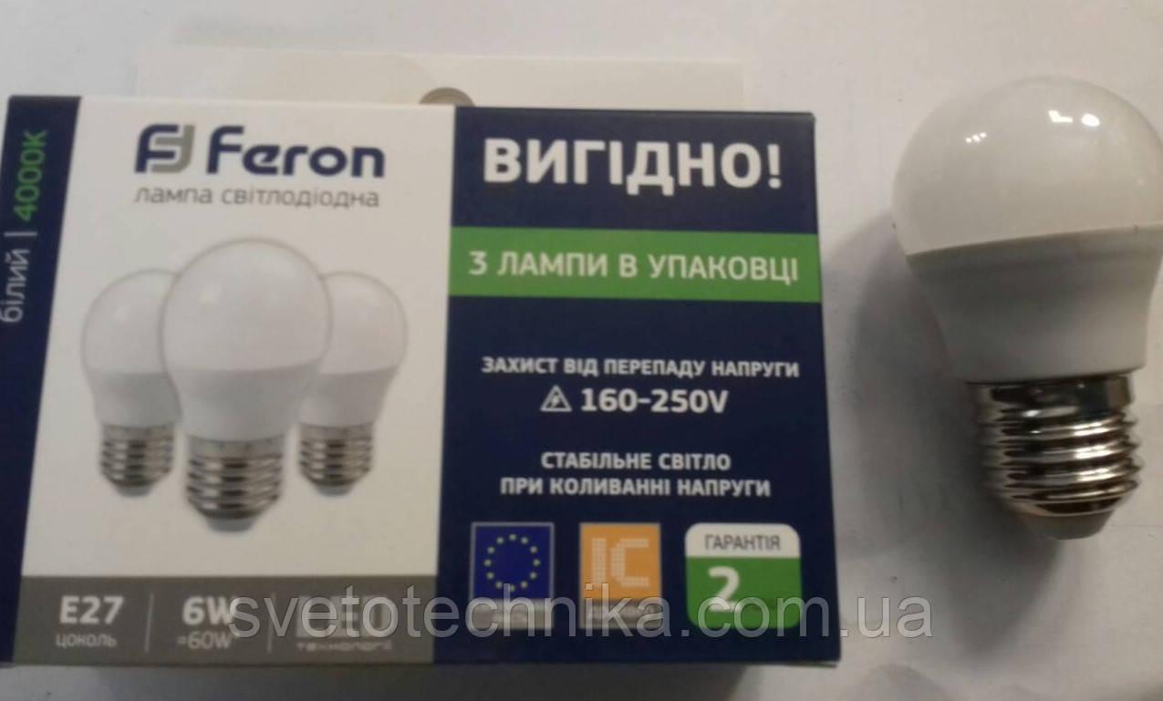 Светодиодная лампа Feron LB745 E27 6W 4000К Упаковка 2 шт.
