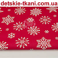 "Ткань новогодняя ""Снежинки-бусинки"" на красном фоне, № 1094"