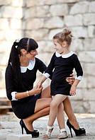 Комплект одинаковых платьев мама и дочка черного цвета с белыми воротниками