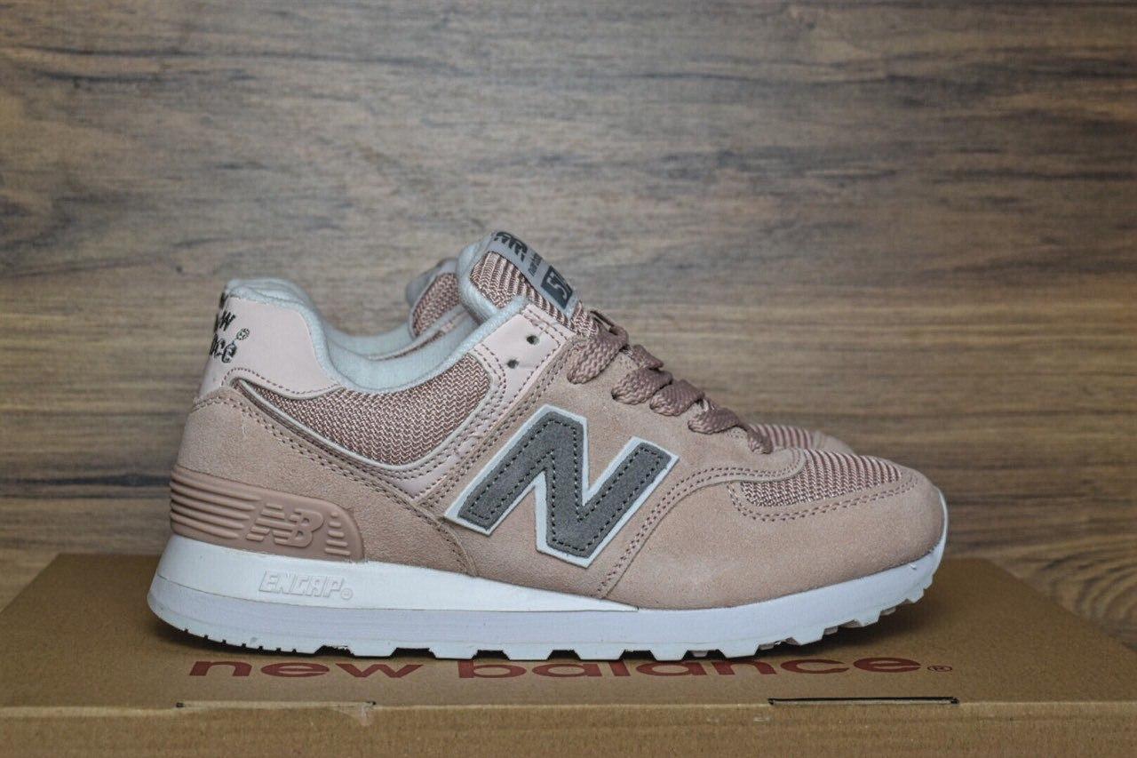Женские кроссовки New Balance 574 пудра серая буква N 2366  продажа ... ad6bda473f4