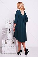 Женское изумрудное платье свободно кроя по колено с коротким рукавом