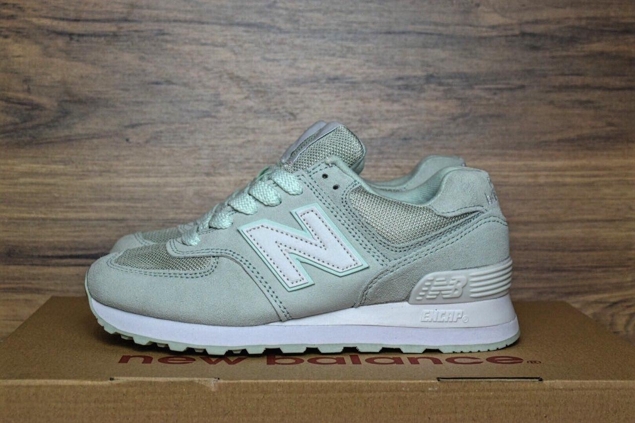 191af0887574 Женские кроссовки New Balance 574 бледно-зеленые 2367 - Компания