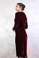 Новогоднее платье из бархата Анри цвета марсал 40