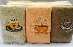 """Кухонные полотенца """"Кофе"""" (12 шт) махра"""