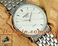 Мужские наручные часы Tissot Quartz Steel Silver White кварцевые японский механизм
