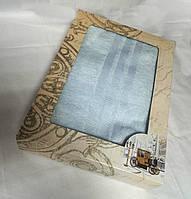 Махровое однотонное полотенце для сауны ГОЛУБОЕ в подарочной упаковке