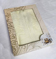 Махровое однотонное полотенце для сауны СВЕТЛЫЙ БЕЖ в подарочной упаковке