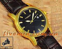 Мужские наручные часы Tissot Quartz Calendar Gold Blackd кварцевые японский механизм