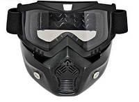 """Очки-маска """"BEON"""" под полулицевик (открытый шлем) на байк, чоппер мотоцикл, закрывает лицо"""