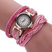Женские часы со стразами на длинном ремешке (Pink)