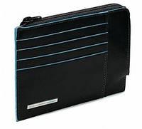 Оригинальная и практичная кредитница Piquadro Blue Square из натуральной кожи, черная PU1243B2_N