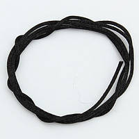 Шнур  атласный для силиконовых бусин 2 мм (черный)