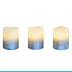 Набор свечей воск. LED 3шт., 5*6.5, серебро