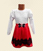 TM Dresko Платье для девочки красное кружево на атласе французский трикотаж (98089)