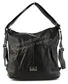 Объемная женская серая сумка рюкзак с замшевой лицевой вставкой art. 8692 черная