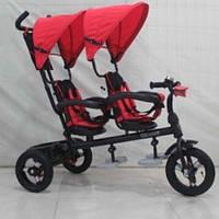 Трехколесный велосипед для двойни с фарой Azimut Crosser TWINS AIR М-300 (красный)