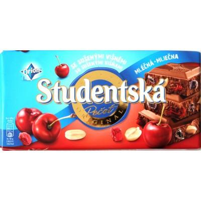 Шоколад Studentska молочный с вишней (Студентка с вишней) 180 г. Чехия