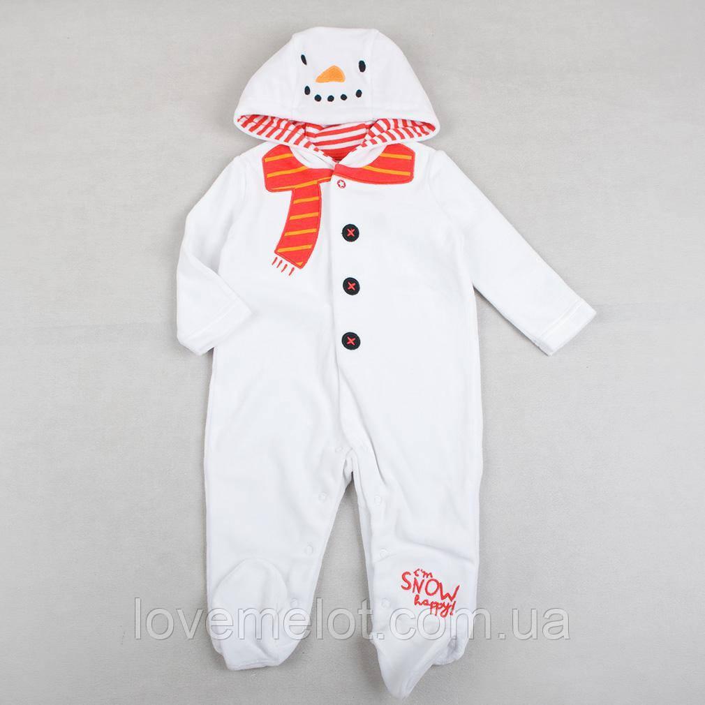 """Детский человечек с капюшоном велюровый """"Снеговичок"""", рост 62см, карнавальный костюм"""