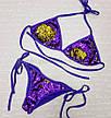 Купальник раздельный, бикини, мягкая чашка с вкладышем, бразилиана, пайетки фиолетовый-золото 132-0, фото 3