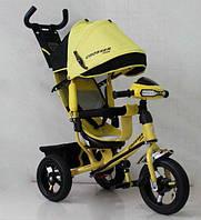 Велосипед детский трехколесный Azimut Trike Crosser One T1 ФАРА (надувные колёса) желтый