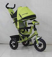 Велосипед детский трехколесный Azimut Trike Crosser One T1 ФАРА (надувные колёса) зеленый