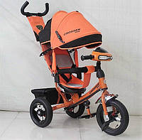Велосипед детский трехколесный Azimut Trike Crosser One T1 ФАРА (надувные колёса) оранжевый