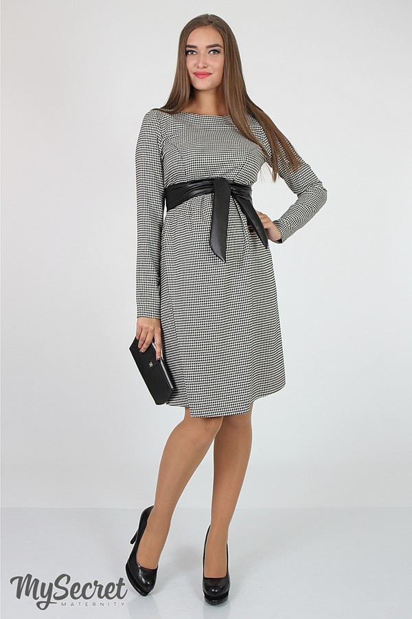 Платье для беременных и кормящих Barbara ЮЛА МАМА (бело черное, размер S)