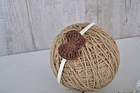 Повязка с вязаным коричневым бантиком