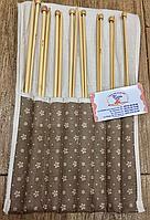 Набор спицы прямые бамбук в чехле