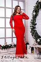 Вечернее платье для полных Рыбка красное