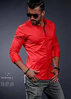 Мужская красная приталенная рубашка