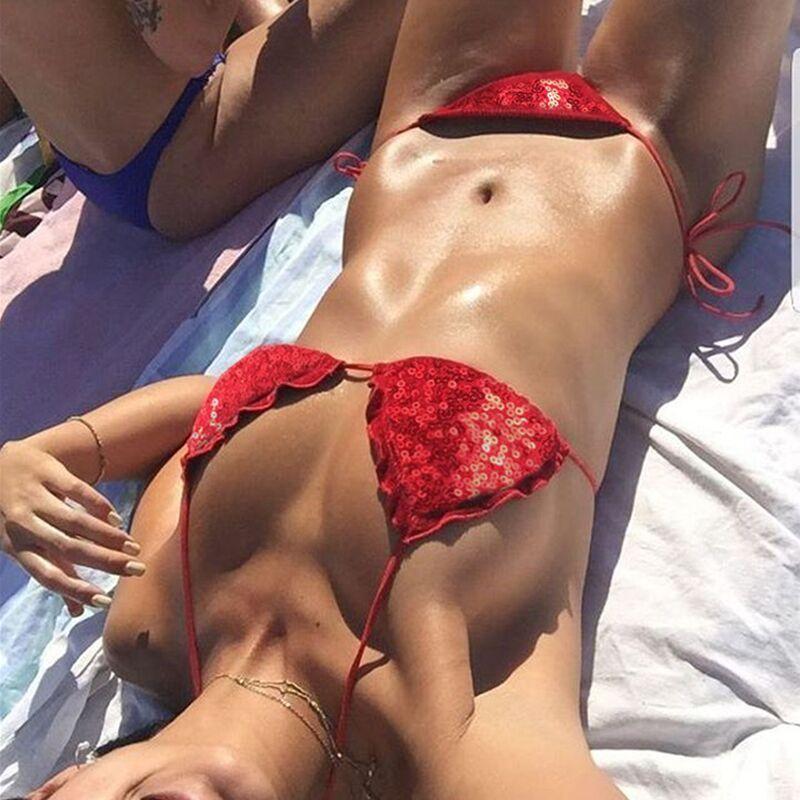 Купальник раздельный, бикини, мягкая чашка с вкладышем, бразилиана, пайетки оборочки, красный-132-03