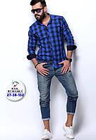 Мужская синяя приталенная рубашка в клетку