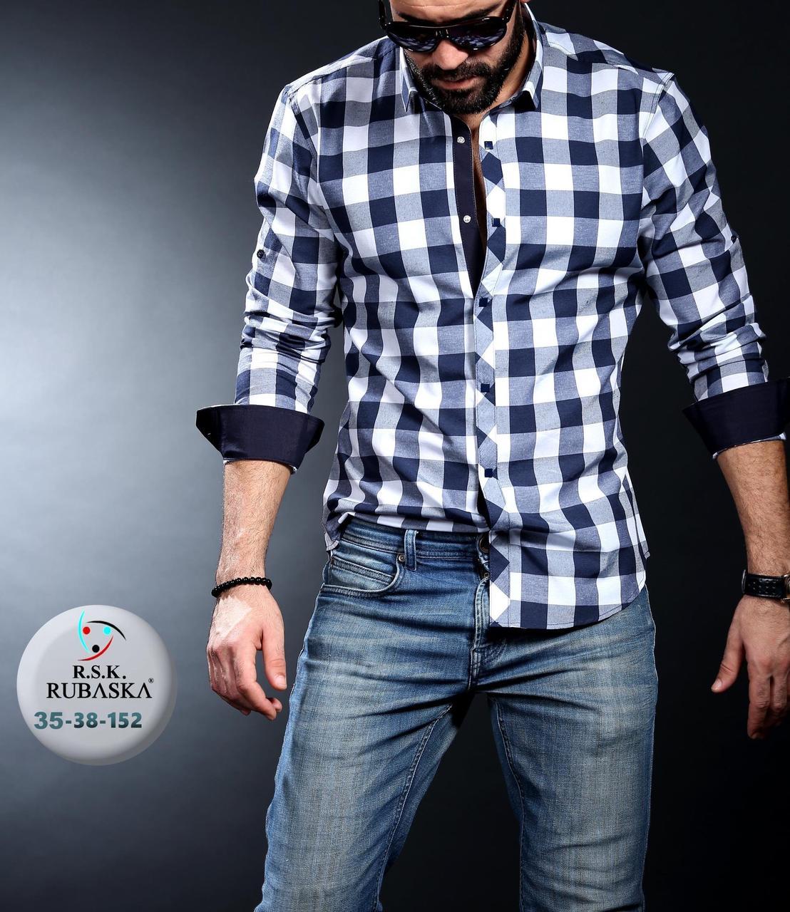 5d8f29458e6948b Мужская приталенная рубашка в клетку, цена 550 грн., купить в Киеве —  Prom.ua (ID#629015640)