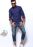 Мужская однотонная приталенная рубашка